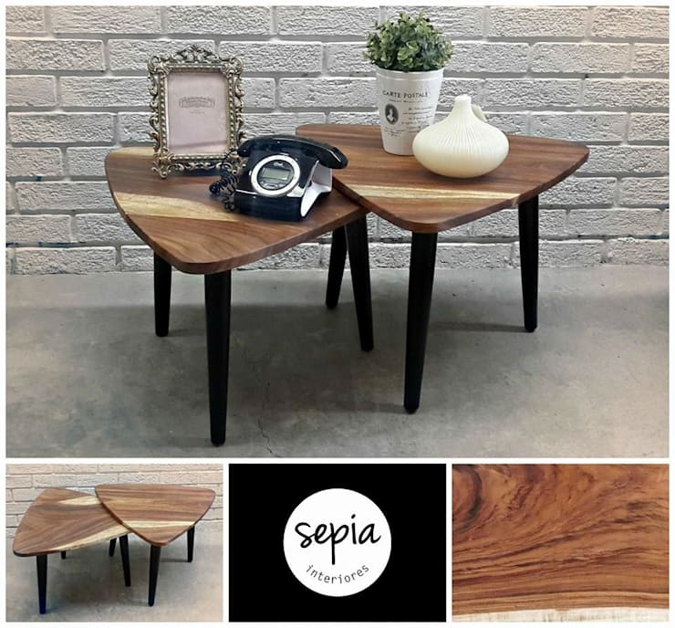 Mesas cubierta parota..!!: Salas de estilo  por Sepia interiores