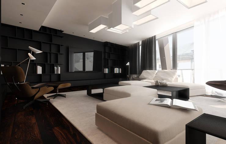 Miodowa: styl , w kategorii Salon zaprojektowany przez KONZEPT Architekci,Minimalistyczny Drewno O efekcie drewna