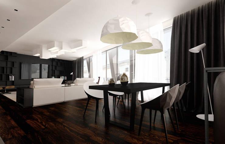 Miodowa: styl , w kategorii Jadalnia zaprojektowany przez KONZEPT Architekci,Minimalistyczny