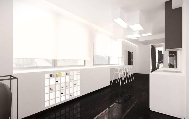 Miodowa: styl , w kategorii Kuchnia zaprojektowany przez KONZEPT Architekci,Minimalistyczny Kamień