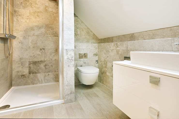 Silver Shadow Honed Marble:  Bathroom by Floors of Stone Ltd