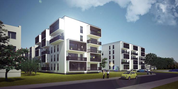 NOWE BLOKI W ŁOWICZU: styl nowoczesne, w kategorii Domy zaprojektowany przez PROSTO ARCHITEKCI