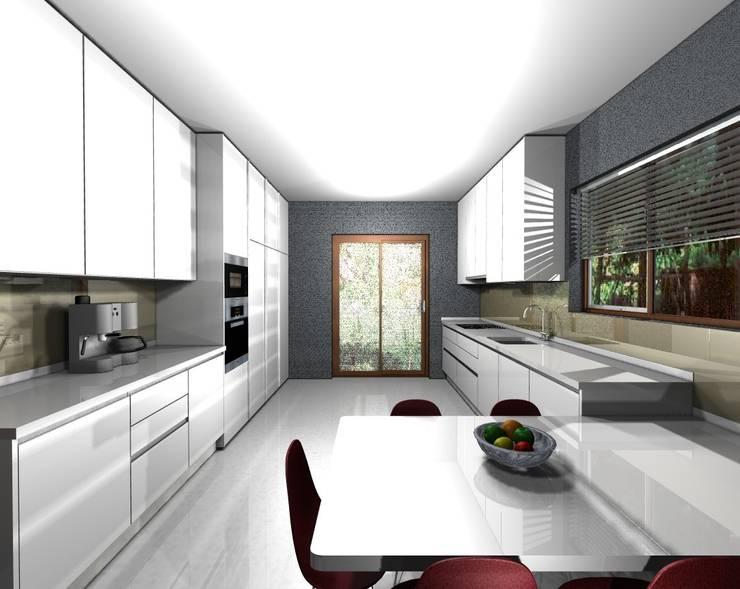 PROJETO AV MONTEVIDEU PORTO: Cozinhas  por 3dogma mobiliário de cozinha