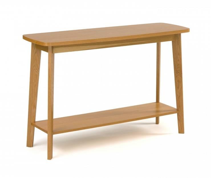 Stolik konsola z półką Kensal : styl , w kategorii  zaprojektowany przez onemarket.pl,Skandynawski Drewno O efekcie drewna