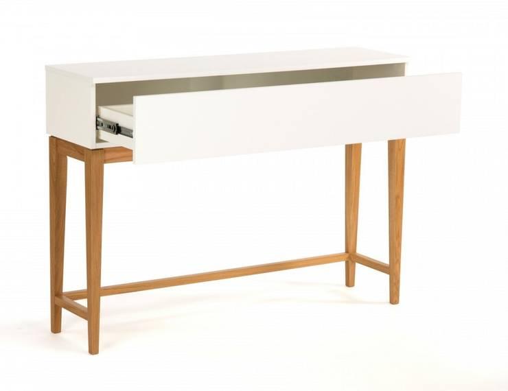 Stolik konsola z szufladą Blanco : styl , w kategorii  zaprojektowany przez onemarket.pl,Skandynawski Drewno O efekcie drewna