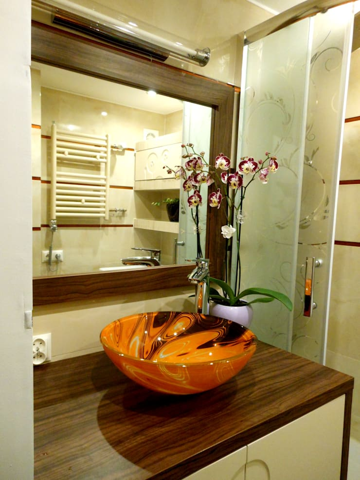 Ванные комнаты в . Автор – archJudyta Aranżacja Wnętrz, Модерн Плитка