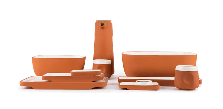terracotta Tray: Quantumby Inc.의 미니멀리스트 ,미니멀