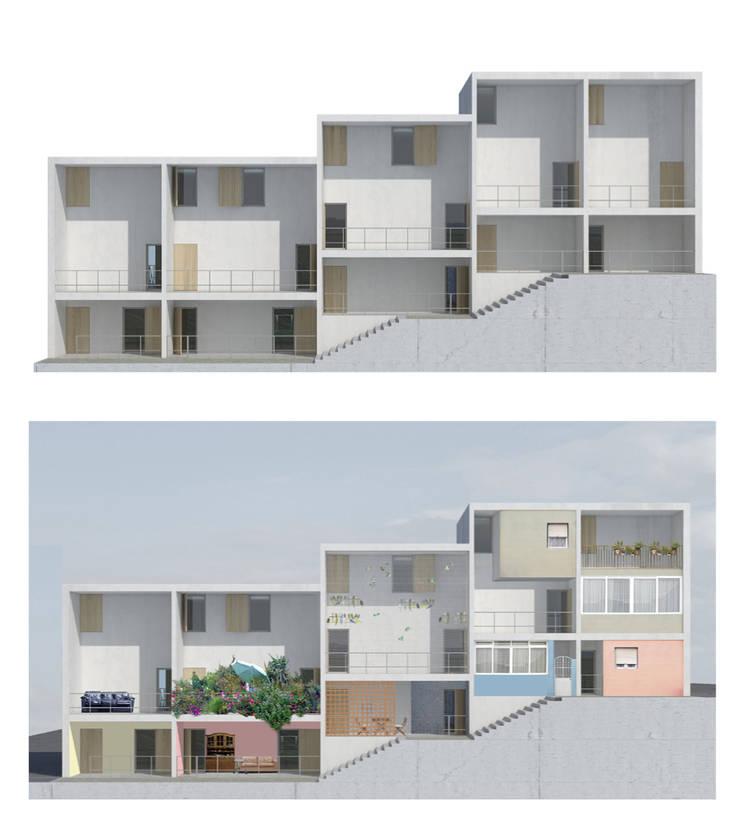 Ocupação da fachada sul pelos habitantes ao longo do tempo:   por FORA - Fagulha Oliveira Ruivo