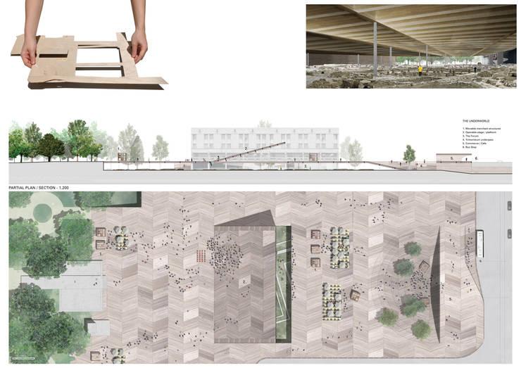 planta e secção parcial da praça:   por FORA - Fagulha Oliveira Ruivo