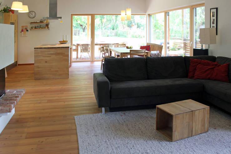 Einfamilienhaus am Hang:  Wohnzimmer von Architekt Stefan Toifl