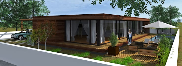 Casa de madeira Lethes House em Ponte de Lima: Casas modernas por Lethes House