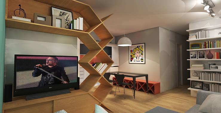 APARTAMENTO URBANO: Salas de estar  por Maxma Studio,