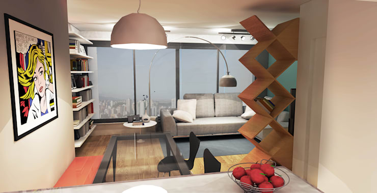 APARTAMENTO URBANO: Salas de estar modernas por Maxma Studio