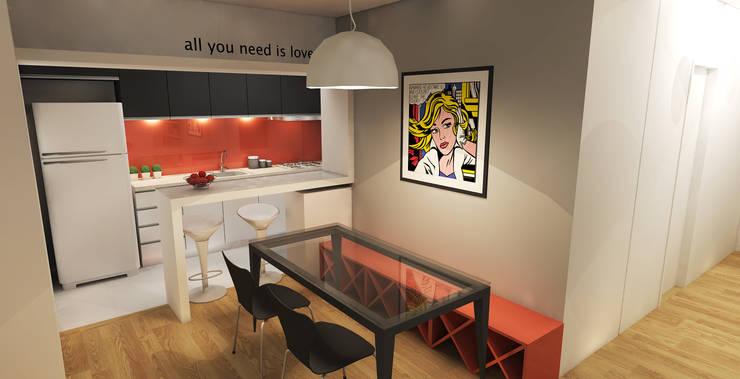 APARTAMENTO URBANO: Salas de jantar  por Maxma Studio