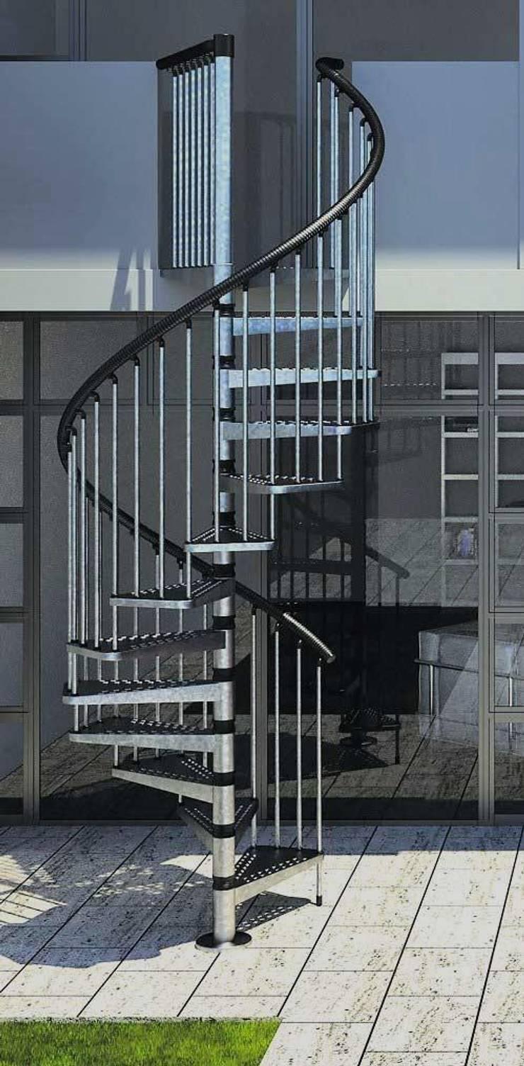 3 escalones por cada 90° para una perfecta distribución: Vestíbulos, pasillos y escaleras de estilo  por Rintal