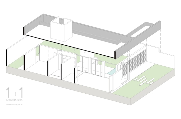 Axonometría de la vivienda:  de estilo  por 1+1 arquitectura,