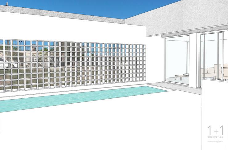 Perspectiva desde el área verde hacia el exterior:  de estilo  por 1+1 arquitectura,