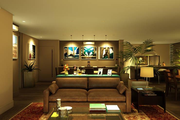 Visão do ambiente de estar para a sala de jantar: Salas de jantar  por Eduardo Novaes Arquitetura e Urbanismo Ltda.