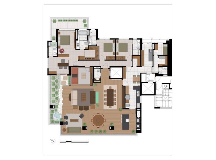 Planta da personalização: Casas  por Eduardo Novaes Arquitetura e Urbanismo Ltda.