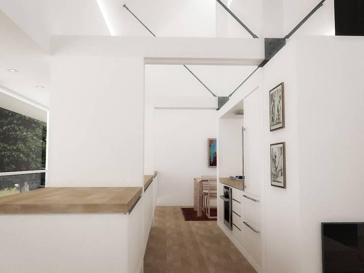 Casa – Taller : Cocinas de estilo  por RRA Arquitectura