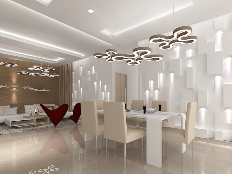 SALARPURIA SATTVA, MOCK UP APARTMENT, BANGALORE. (www.depanache.in):  Dining room by De Panache  - Interior Architects