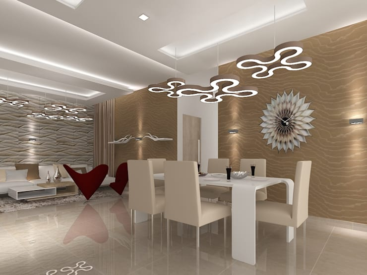SALARPURIA SATTVA, MOCK UP APARTMENT, BANGALORE. (www.depanache.in):  Dining room by De Panache  - Interior Architects
