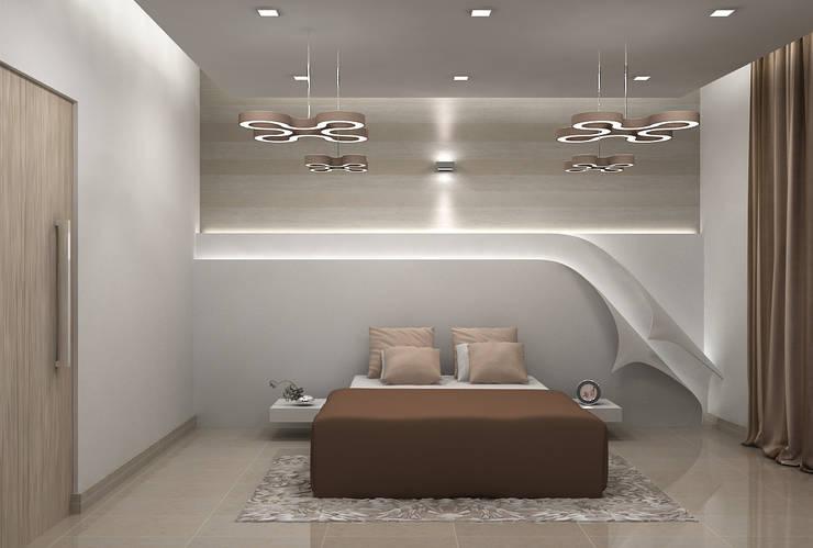 SALARPURIA SATTVA, MOCK UP APARTMENT, BANGALORE. (www.depanache.in):  Bedroom by De Panache  - Interior Architects