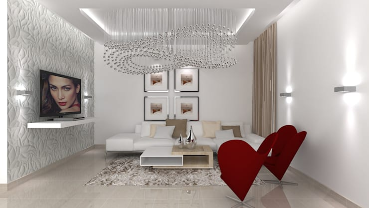 SALARPURIA SATTVA, MOCK UP APARTMENT, BANGALORE. (www.depanache.in):  Living room by De Panache  - Interior Architects