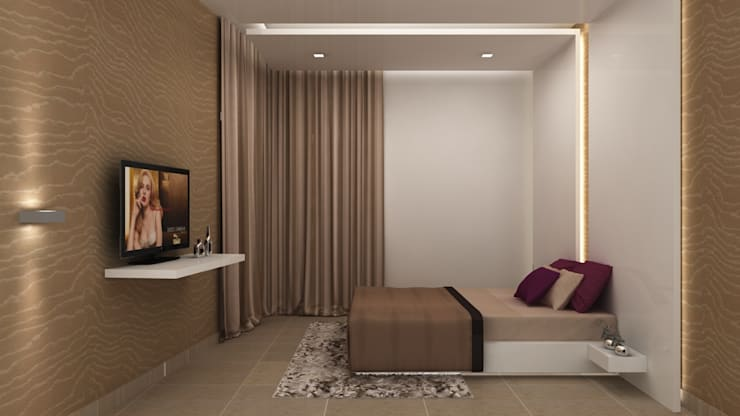 SALARPURIA SATTVA, MOCK UP APARTMENT, BANGALORE. (www.depanache.in): modern Bedroom by De Panache  - Interior Architects