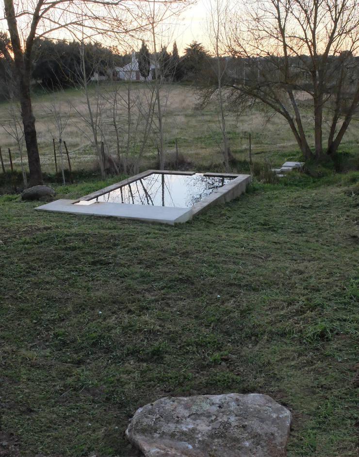 Recuperação de tanque junto a ribeira: Jardins minimalistas por Atelier Jardins do Sul