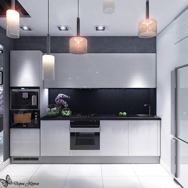 Кухня-гостиная в контрастных черно белых тонах: Кухни в . Автор – Your royal design
