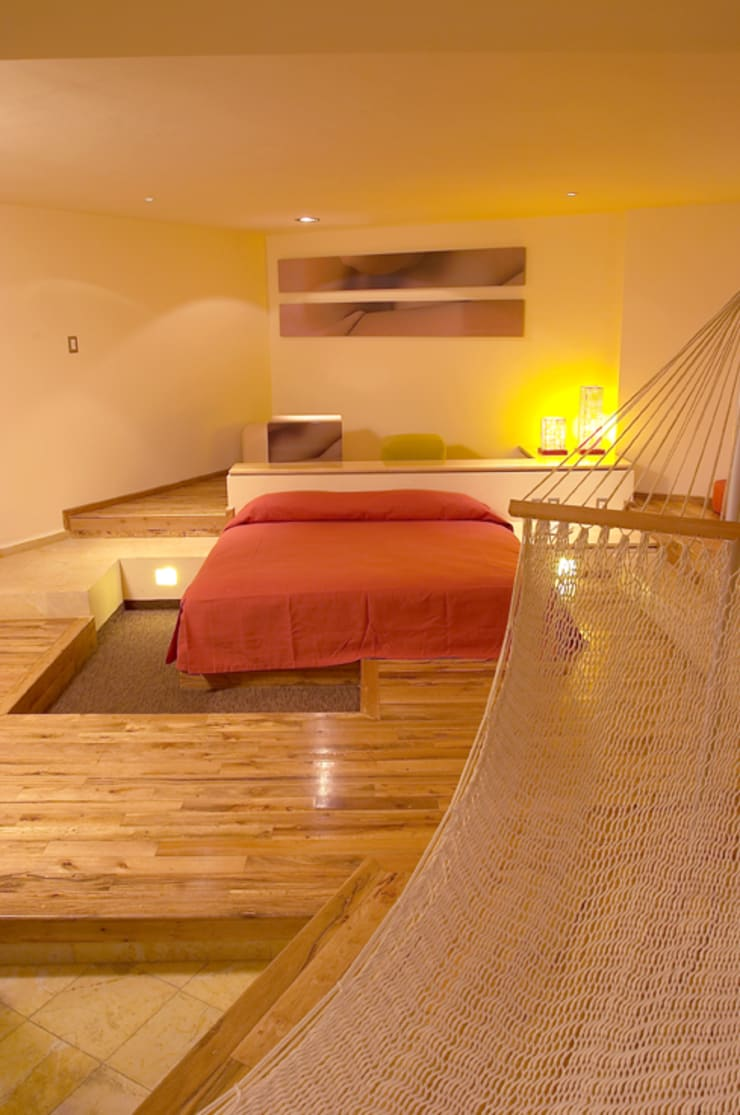 Hotel Pirámides Narvarte : Recámaras de estilo  por DIN Interiorismo