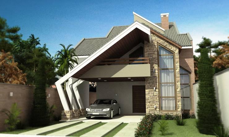 Residência Moderna: Casas  por valente arquitetura e construção
