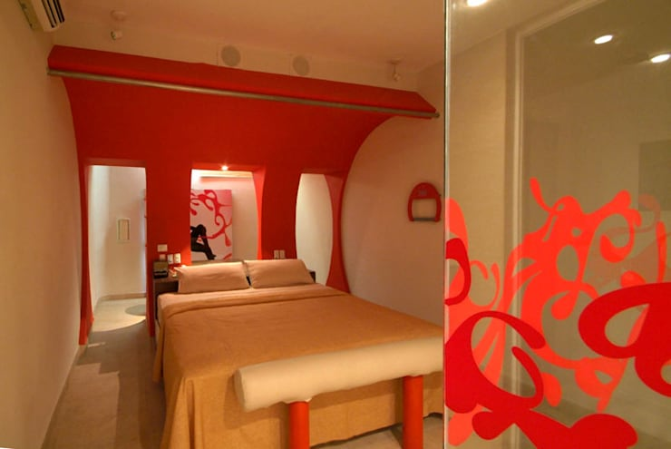 Hotel Aquz : Recámaras de estilo  por DIN Interiorismo