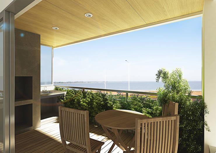 Edificio AQUALINE: Terrazas de estilo  por ENGEL arquitectos,