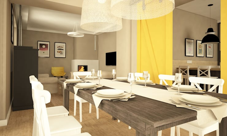 Projekt domu, okolice Białystok: styl , w kategorii Jadalnia zaprojektowany przez IN STUDIO PRACOWNIA PROJEKTOWA