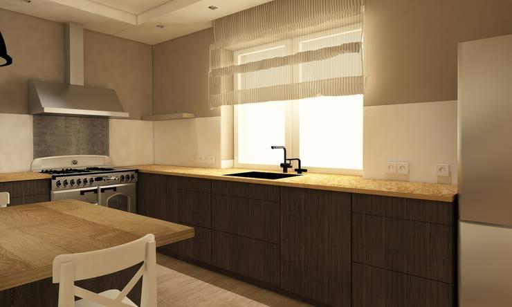 Projekt domu, okolice Białystok: styl , w kategorii Kuchnia zaprojektowany przez IN STUDIO PRACOWNIA PROJEKTOWA
