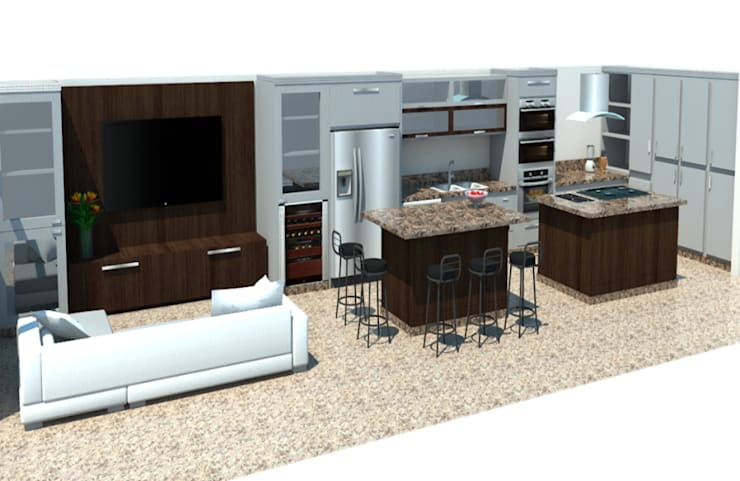 Vista Cocina y family room: Cocina de estilo  por Constructora G-9