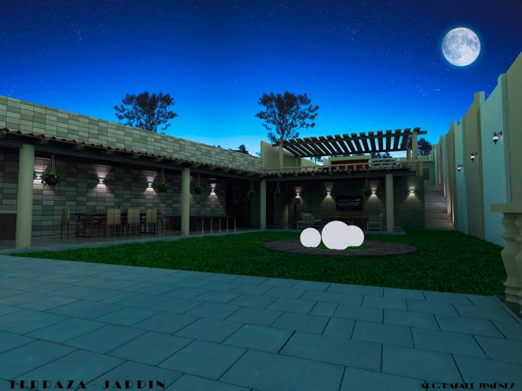 PROPUESTA FINAL RENDER NOCTURNO Balcones y terrazas rústicos de PRISMA ARQUITECTOS Rústico
