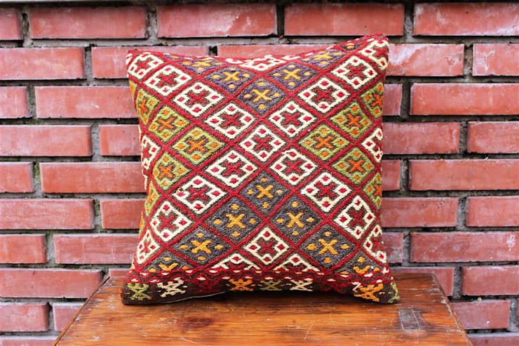 Heritage Nomadic Art Gallery – Kilim Pillow:  tarz , Klasik Yün Turuncu