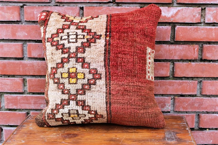 Heritage Nomadic Art Gallery – http://www.turkishrugs.net/home-and-living/kilim-pillows/kilim-pillow-16-x-16-inches-40-cm-x-40-cm.html:  tarz , Klasik Yün Turuncu