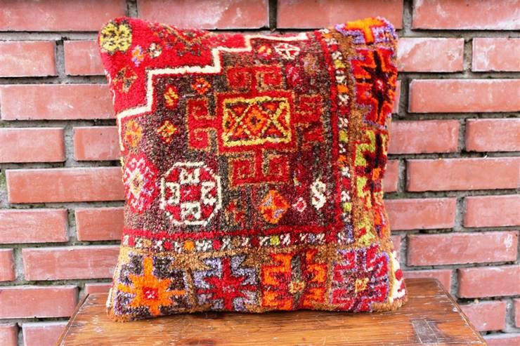 Heritage Nomadic Art Gallery – Kilim Pillows :  tarz , Klasik Yün Turuncu