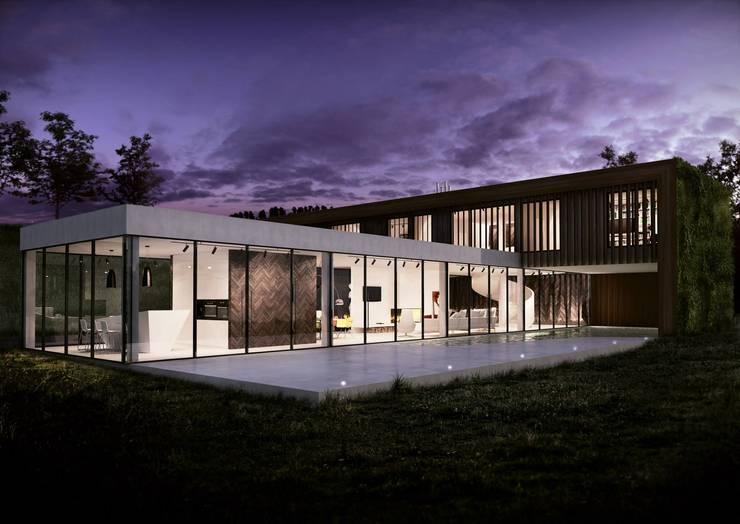 Green House Studio: styl , w kategorii Domy zaprojektowany przez OMCD Architects,Minimalistyczny Drewno O efekcie drewna