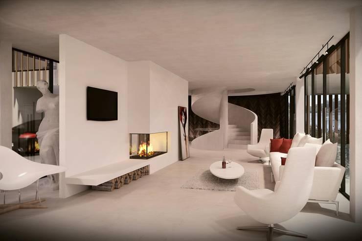 Green House Studio: styl , w kategorii Salon zaprojektowany przez OMCD Architects,Minimalistyczny Beton
