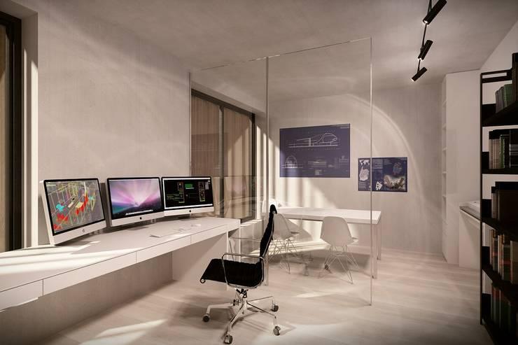 Green House Studio: styl , w kategorii Domowe biuro i gabinet zaprojektowany przez OMCD Architects,Minimalistyczny Beton