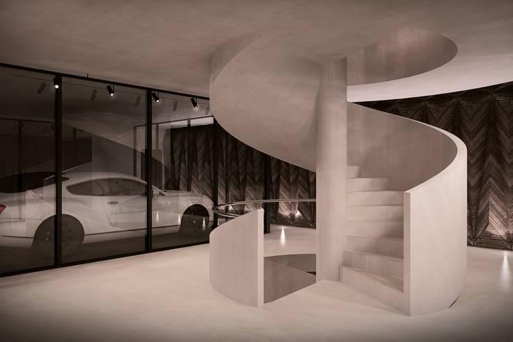 Green House Studio: styl , w kategorii Korytarz, przedpokój zaprojektowany przez OMCD Architects,Minimalistyczny Beton
