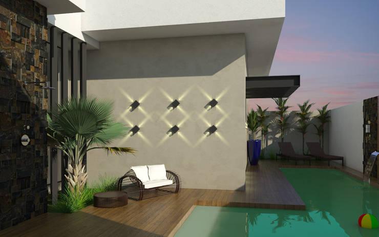 Área de Lazer: Casas modernas por Celis Bender Arquitetura e Interiores