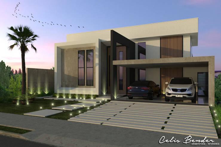 Fachada Frontal: Casas modernas por Celis Bender Arquitetura e Interiores