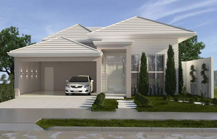 Perfil sólido com traços leves: Casas clássicas por Celis Bender Arquitetura e Interiores