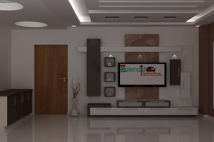 TV Units:  Living room by Splendid Interior & Designers Pvt.Ltd